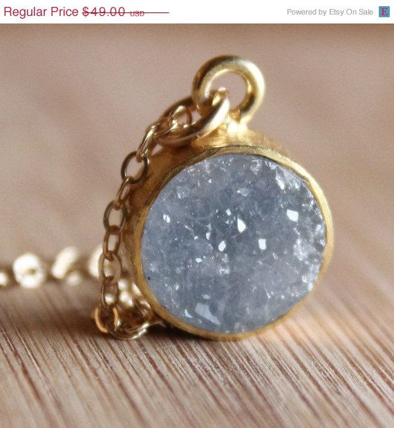 labor day sale gold soft grey druzy necklace 14kt gold fill small pendant on etsy. Black Bedroom Furniture Sets. Home Design Ideas