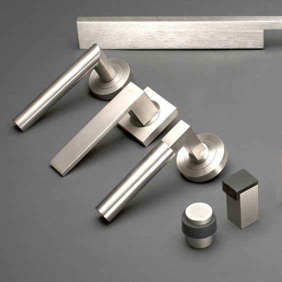 Designer Doorware Satin Nickel Finish available in 3 design collections - Quad Lanex and Kali door handles #designerdoorware #doorhardware #modern\u2026 & Designer Doorware Satin Nickel Finish available in 3 design ...