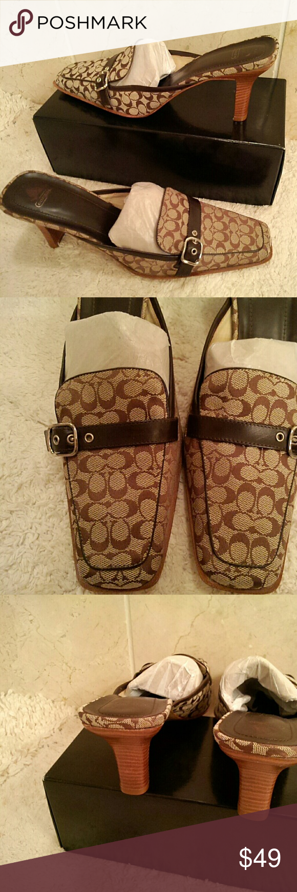 "Coach sig fabric mules Cute, cute, cute - signature fabric mules by Coach in traditional brown and tan colors; silver hardware; leather strap with silver buckle across the front; made in Italy; 3.5"" heel; size 10.5B    (T-17) Coach Shoes Mules & Clogs"