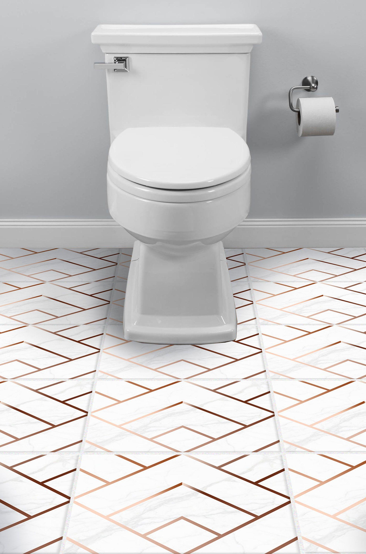 Floor Tile Stickers Decals For Kitchen Bathroom Faux Copper Pack Of 12 Artdeco05 By Decoriiastudio On Etsy Vinyl Tile Tile Bathroom Flooring