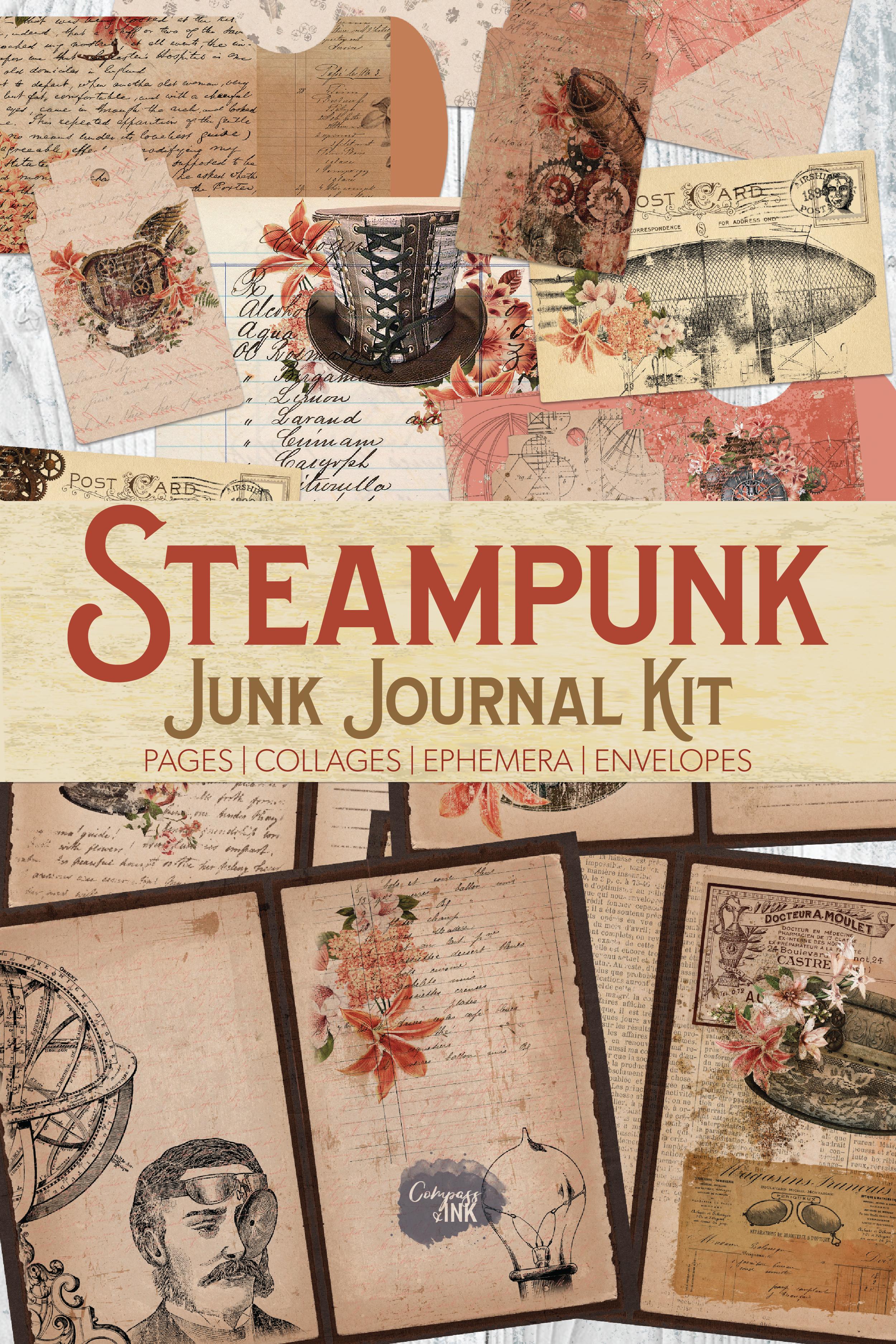 Journal Ephemera Junk Journal Instant Download Paper Craft Supplies Printable Journal Kit 5 X 7 Victorian Time Warp Steampunk