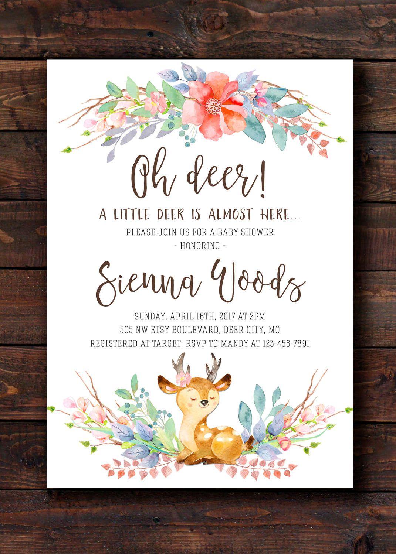 Oh Deer Baby Shower Sprinkle Invitation Invites for Girl, Deer ...
