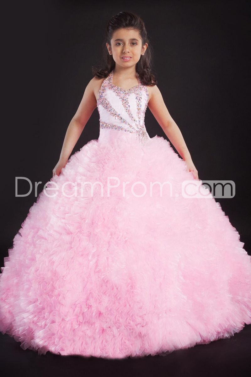 Fashion Ball Gown Halter Floor-length Beaded & Ruched Flower Girl ...