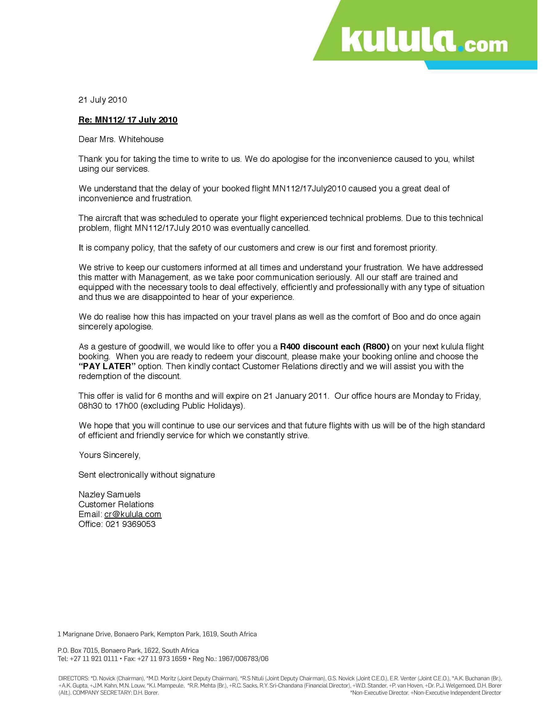 Amanda Sevasti Apology From Kululaletter Of Apology Business