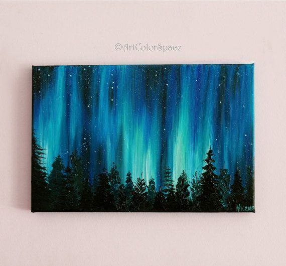 Small Galaxy painting Night sky Northern lights painting Landscape painting Aurora borealis Oil painting on canvas  Small Galaxy painting Night sky Northern lights painti...