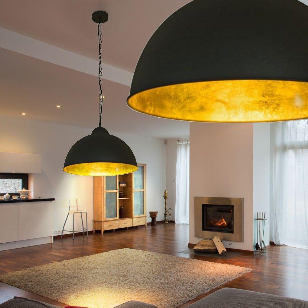 LEDDeckenLampe40cmSchwarzGoldLoftDesignIndustrieFabrikHngeLeuchte  design home