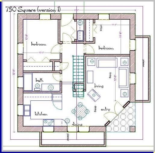 750 square foot house plans straw bale house plan 750 sq ft - Square House Plans