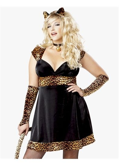 Womens Sexy Leopard Kitty Cat Adult Plus Size Halloween Costume Dress 2XL-3XL