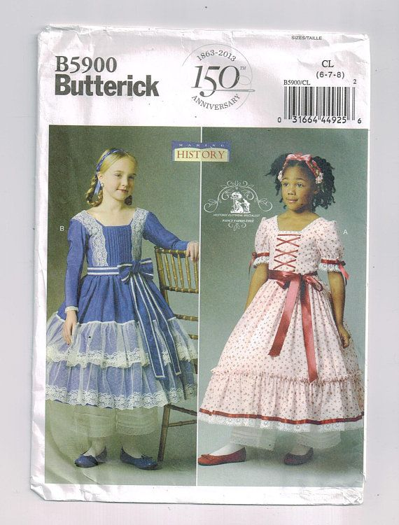 Southern belle Civil War era childs dress Butterick B5900 Historical ...