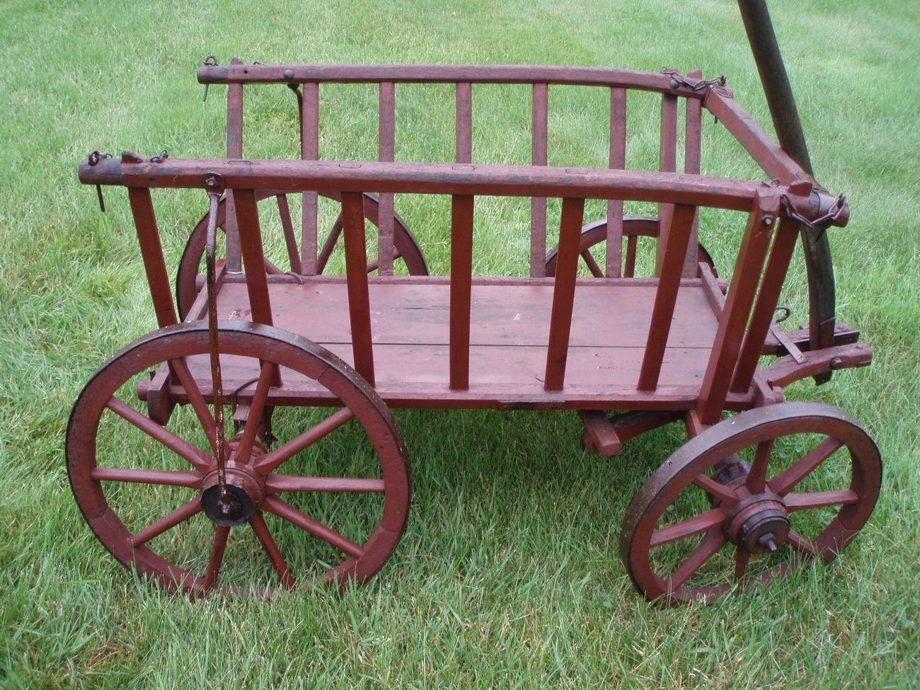 Antique Primitive Goat Cart Hay Wagon