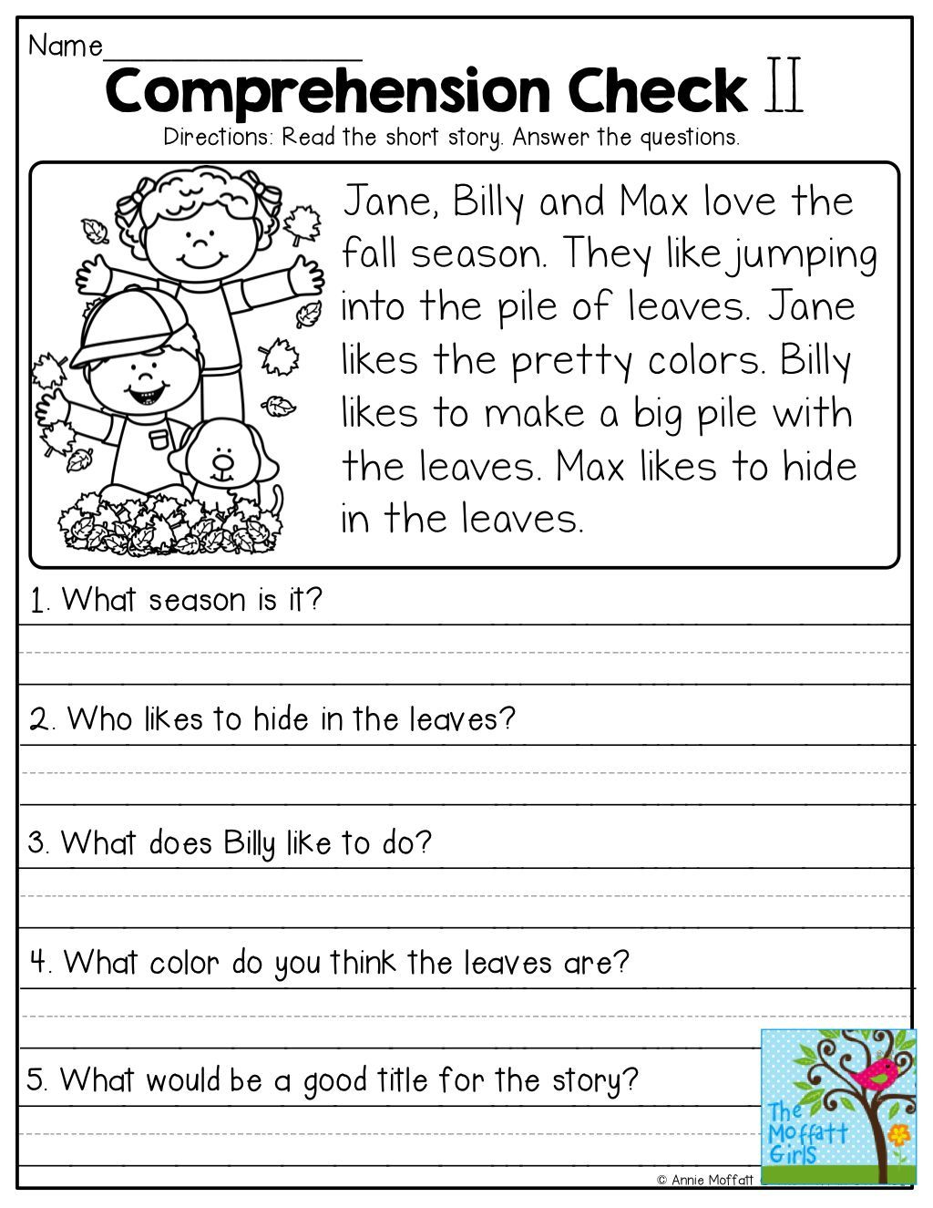 Worksheets Reading Comprehension Printable Worksheets pin by suzanne beck on special ed pinterest reading for kindergarten fall pumpkin