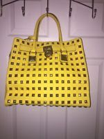 Preowned Michael Kors Yellow Studded Hamilton Tote