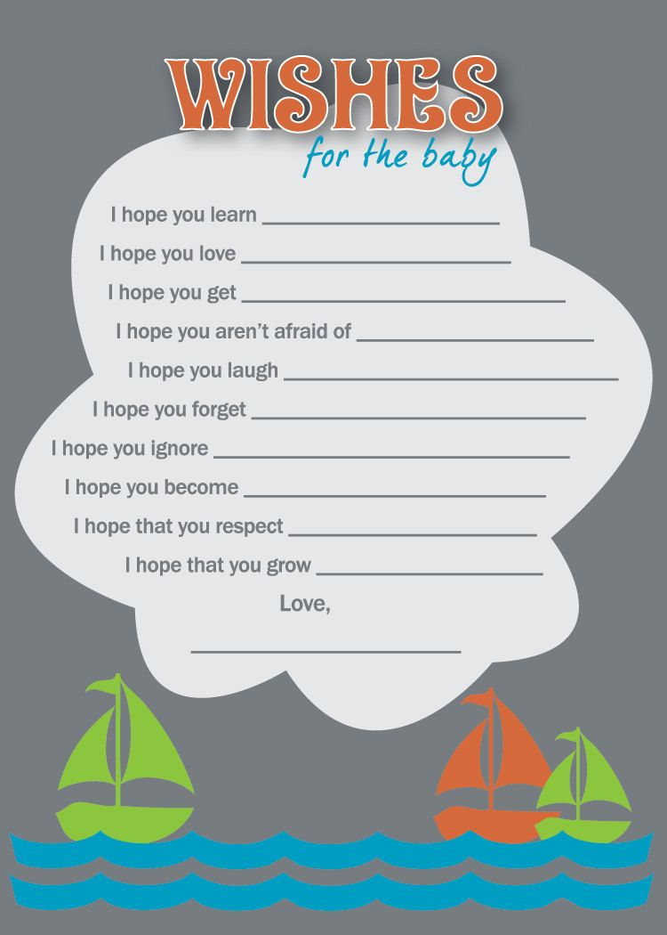 Wishes For Baby Boy Shower   DIY Printable Wish List. $12.99, Via Etsy.