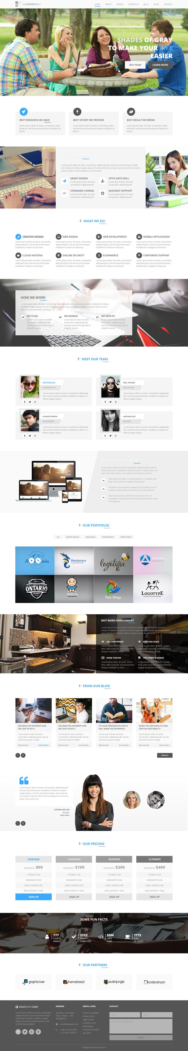 Shades Of Gray Free Psd Web Template Preview Web Design