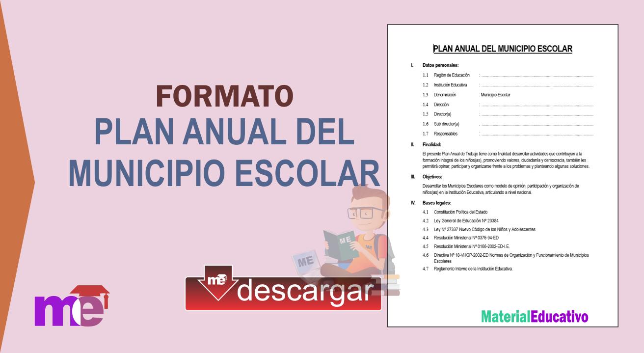 Plan Anual Del Municipio Escolar Material Educativo Ficha De