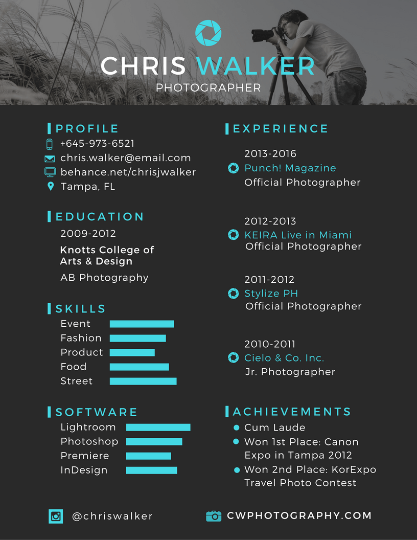 Resume Examples Ideas Creative Photographer Professional Cv