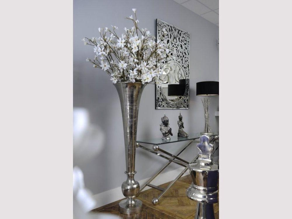 Moorish Trumpet Vase With Raw Silver Finish Extra Large