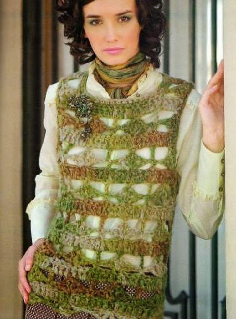 Patrones Diagrama Esquema Crochet ganchillo: Chaleco Cadenetas de ...