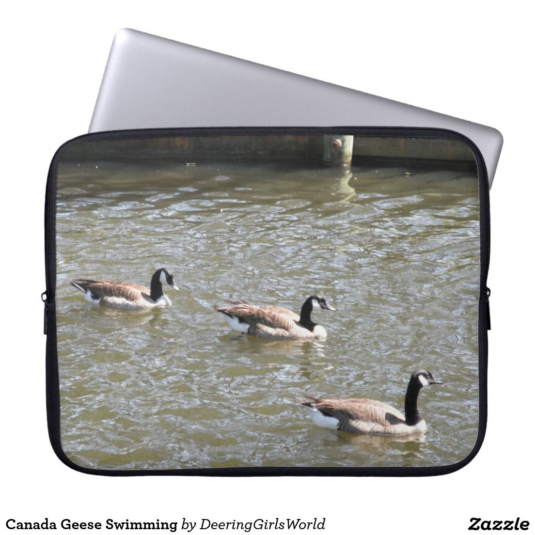 Canada Geese Swimming Laptop Computer Sleeve