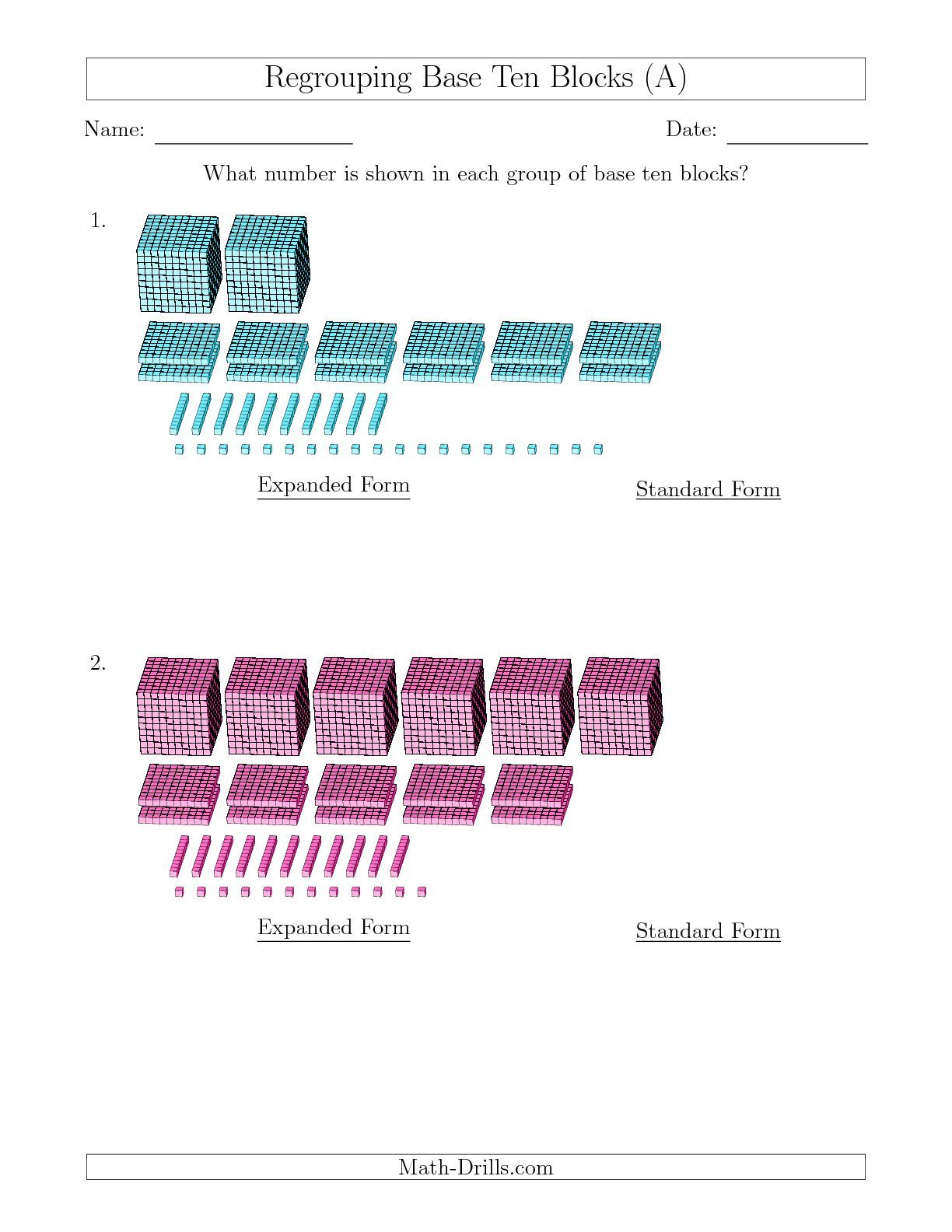 The Representing Numbers With Base Ten Blocks That Require Regrouping Expanded Form Answers A