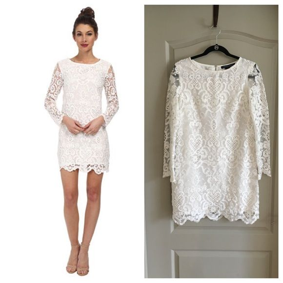 965f0f641d White Nebraska Lace Dress by French Connection Summer White Nebraska Lace  Dress by French Connection! Stunning sheath dress boasts delicate lace  overlay for ...