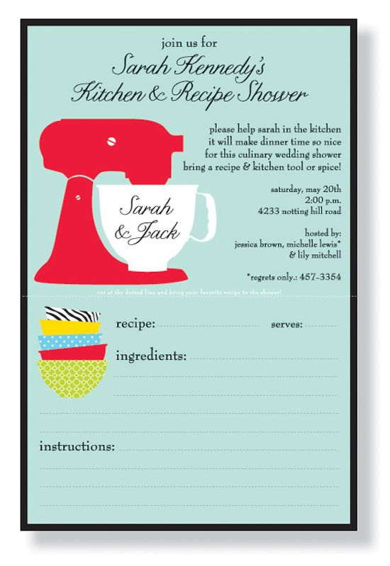 Invitations with recipe cardper cute perfect kitchen themed invitations with recipe cardper cute perfect kitchen themed bridal shower invitation filmwisefo