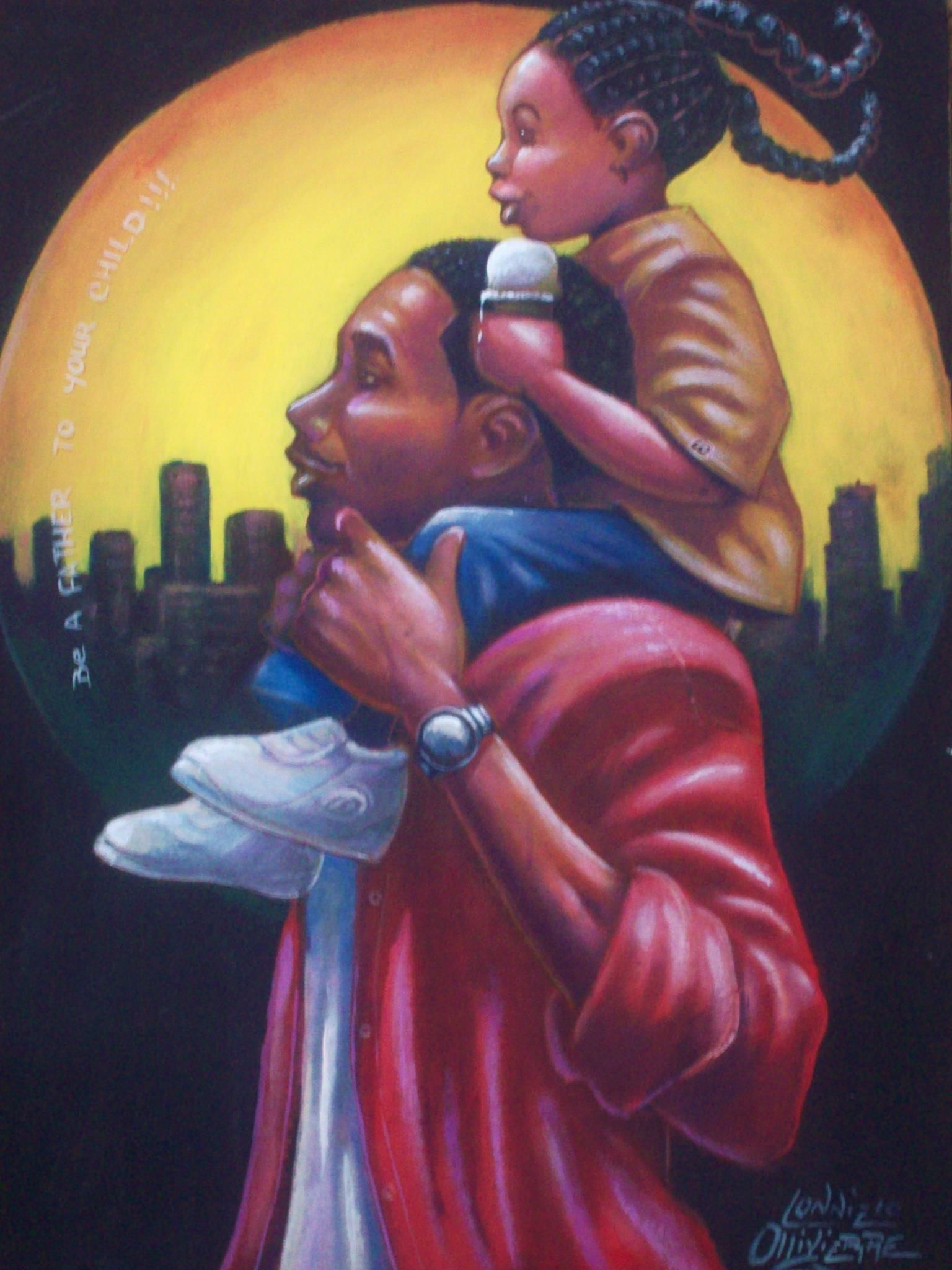 Father And Daughter Time. Black Art Girl
