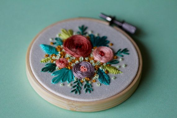 Floral Hand Embroidered Hoop Art by Femmebroidery on Etsy