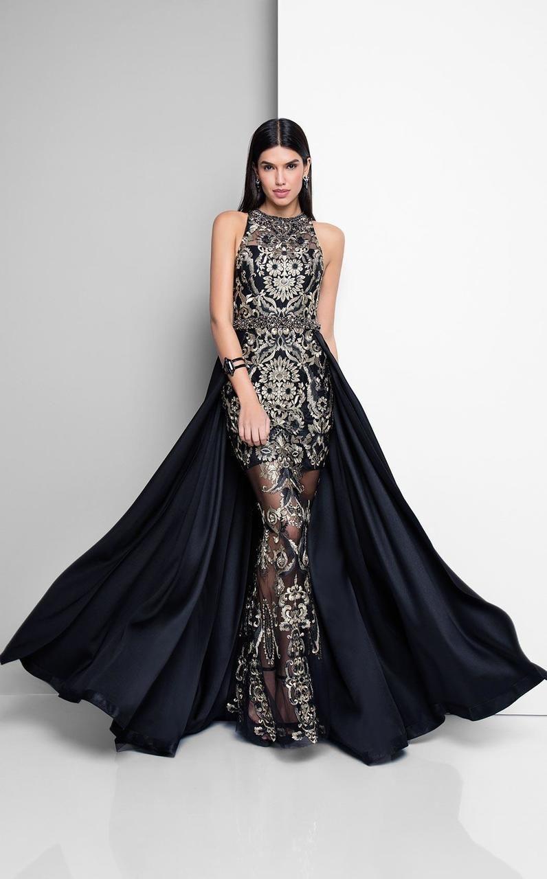 Terani couture stunning sleeveless bateau neck polyester mermaid