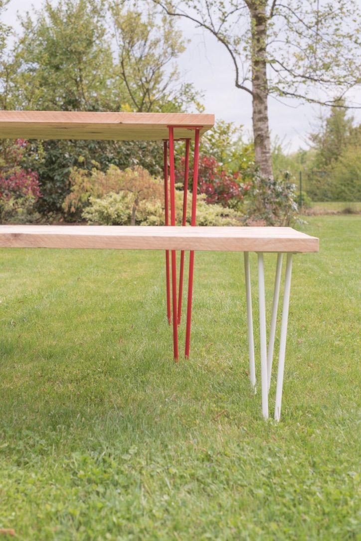 Table et bancs de jardin sur mesure : bois chez Carlier bois + pieds ...