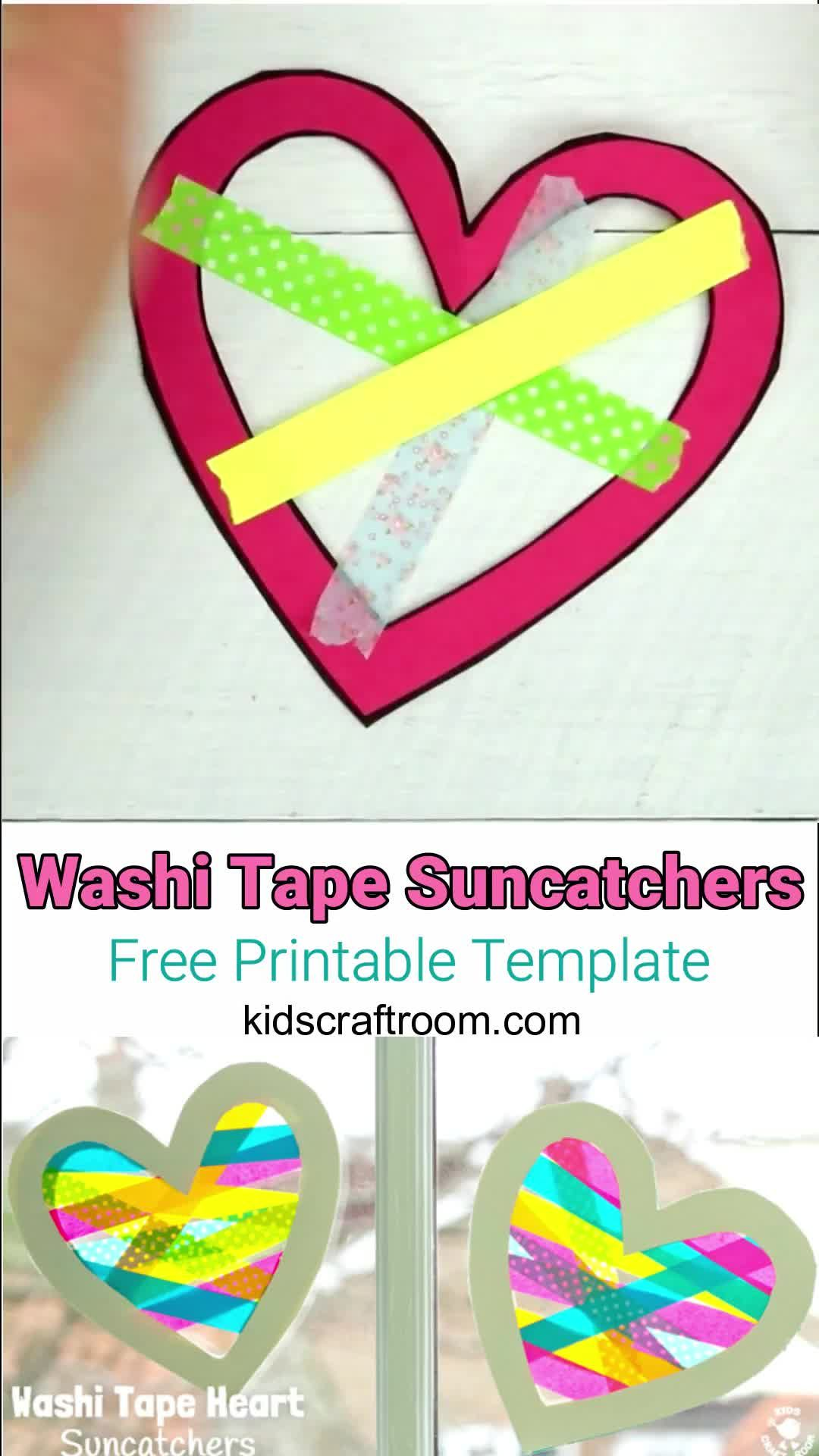 Washi Tape Heart Suncatcher