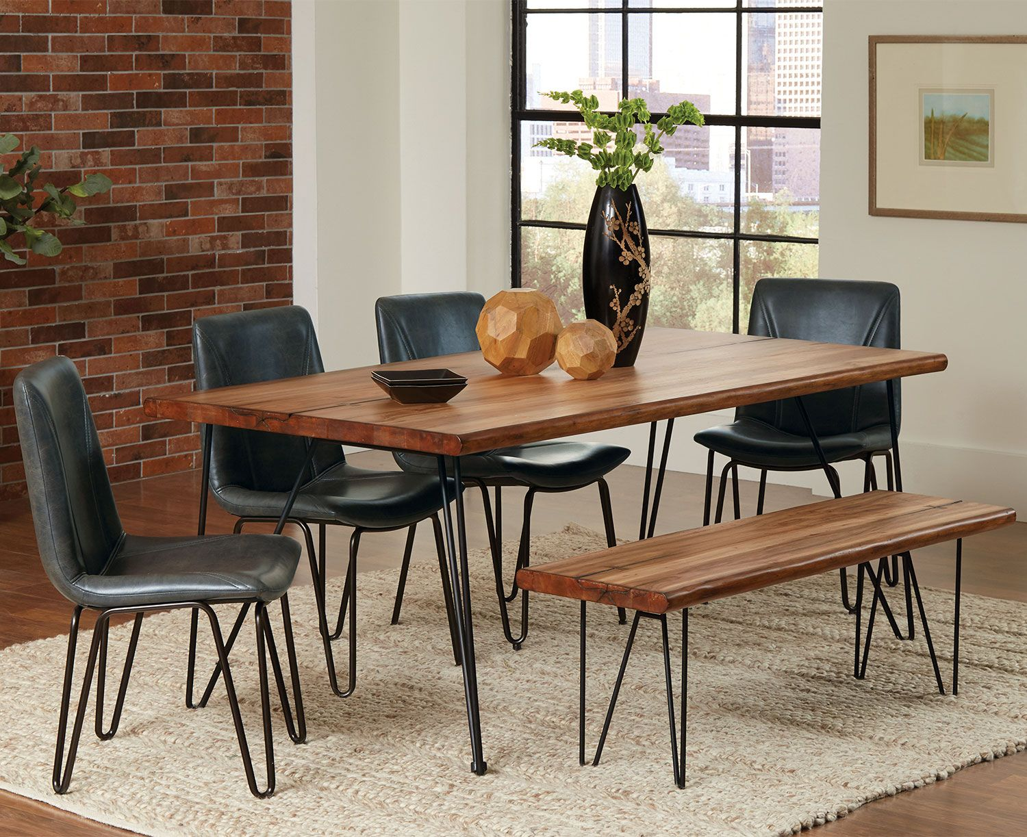 Underson Dining Table Industrial And Modern Farmhouse Style Table