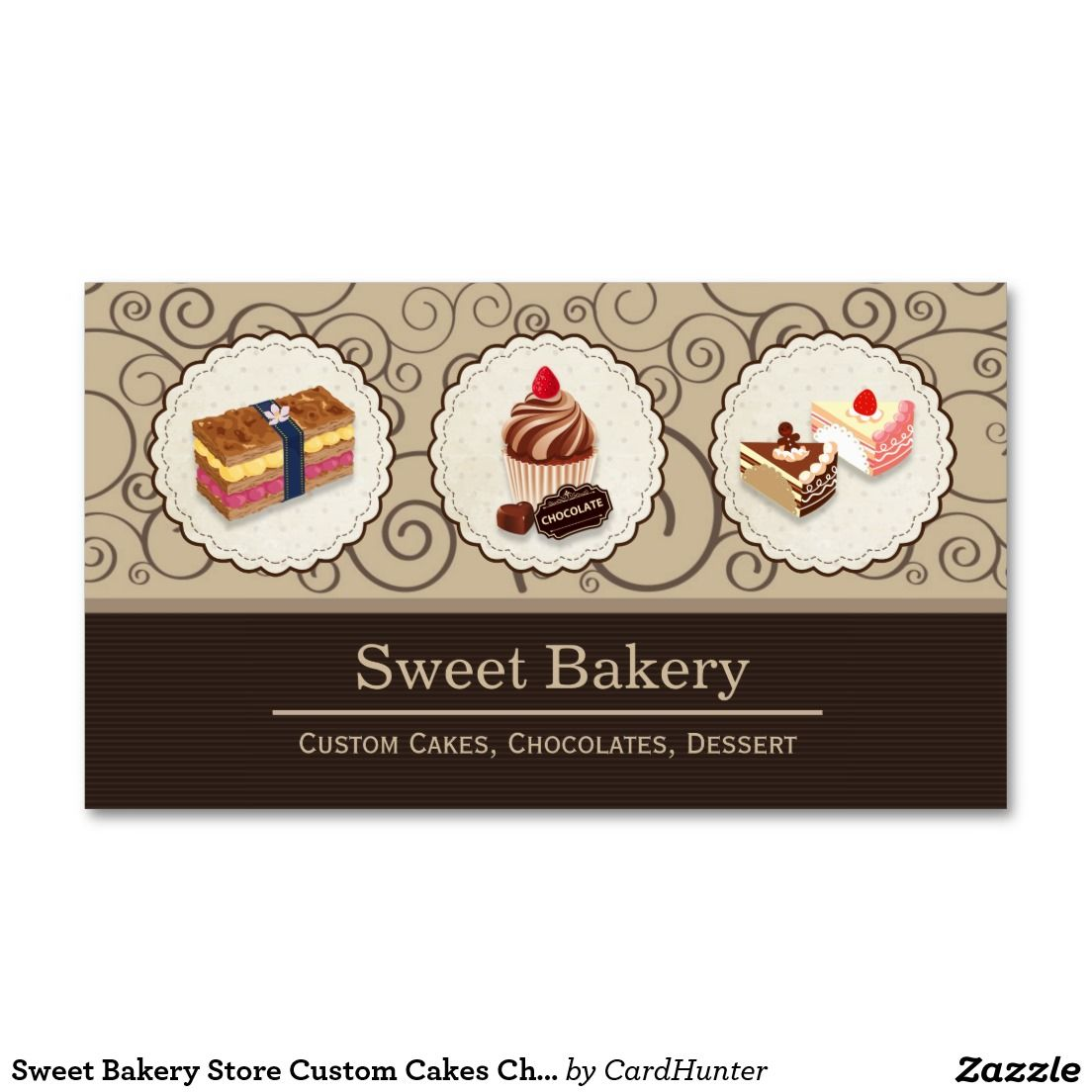 Sweet Bakery Store Custom Cakes Chocolates Dessert Double-Sided ...