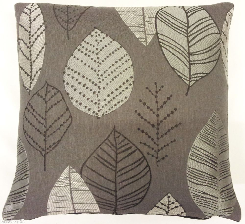 Stunning autumn leaf leaves silver grey embroidered thick cushion