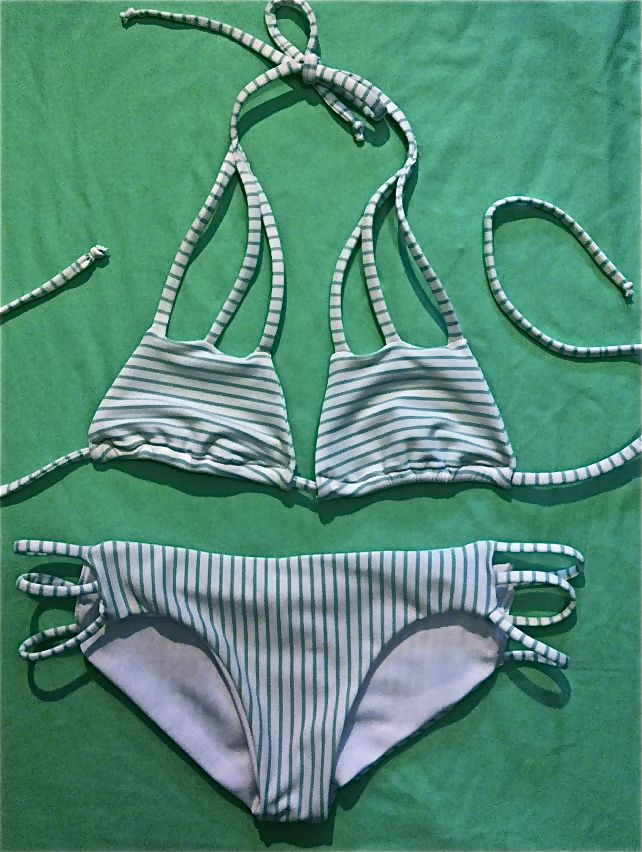 Mint Stripes Bikini, Full Coverage, Seamless and lined with elastic for a snug fit and support. Durable for any water activities <3