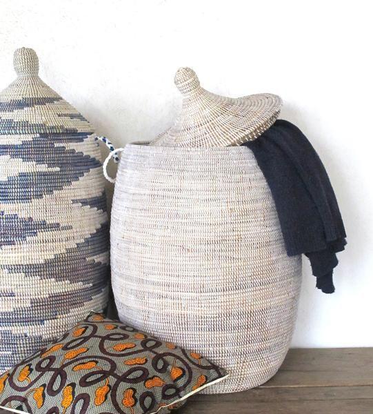 Handmade Laundry Basket Xl In Plain White Senegalese Basket