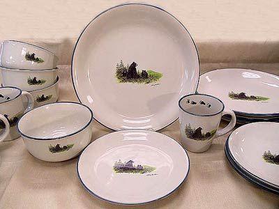 Cabin u0026 Lodge Dinnerware » Cabin Series - Black Bear Dinnerware Set & Cabin Dinnerware With Bears | ... Cabin u0026 Lodge Dinnerware » Cabin ...
