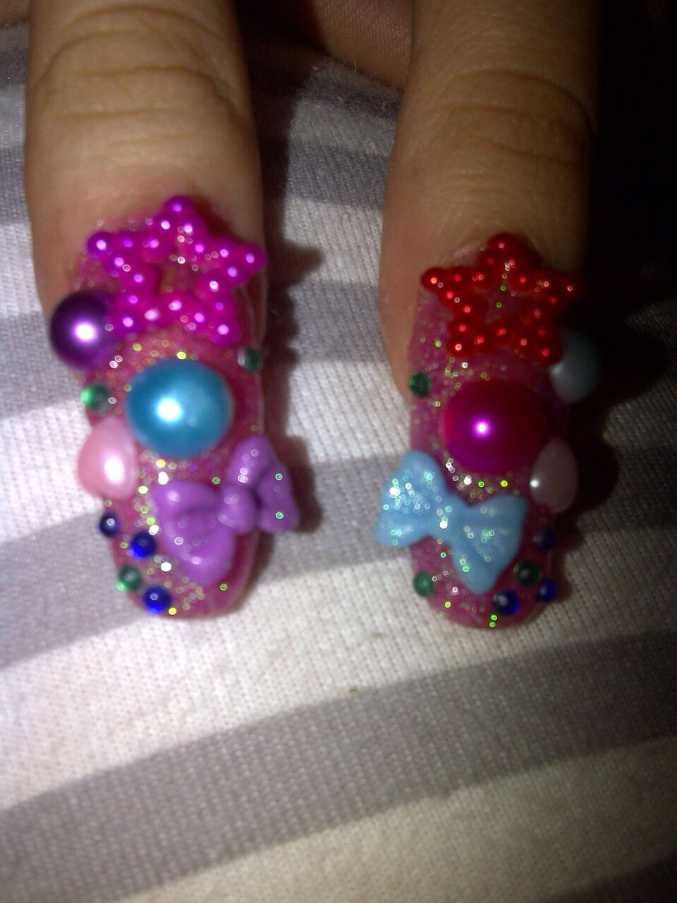 Acrylics With Colourful Nail Art By Mex Nails Pinterest