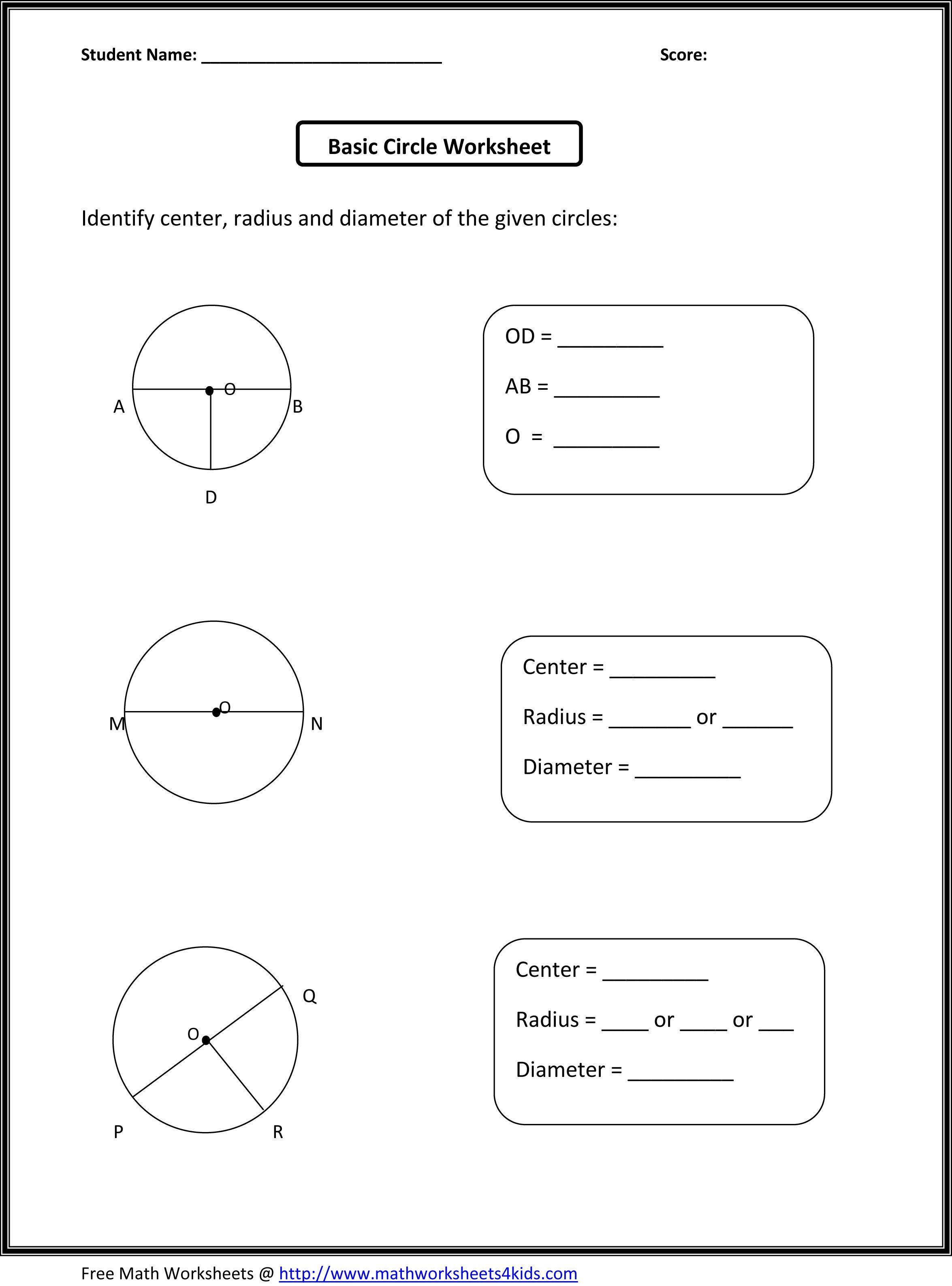 Basic Circle Worksheets Basic Circle Worksheets 3rd Grade
