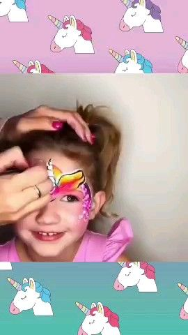How to paint a Unicorn in a little girl's face