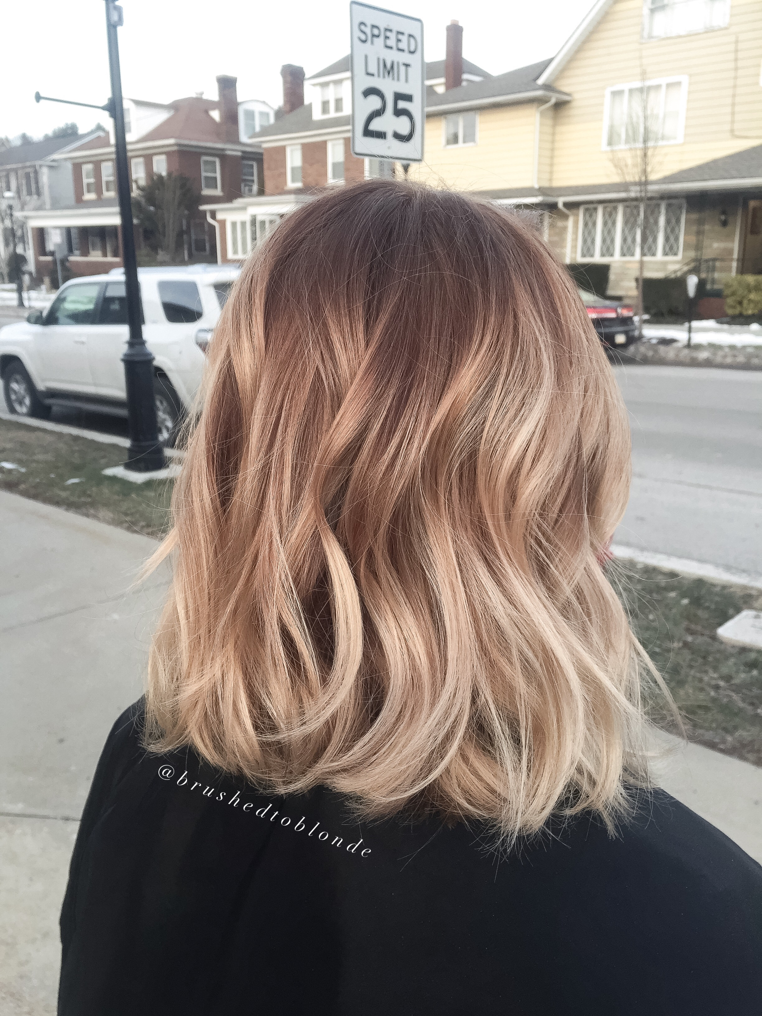 Honey blonde balayage over a warm copper brown base by Danielle Hess