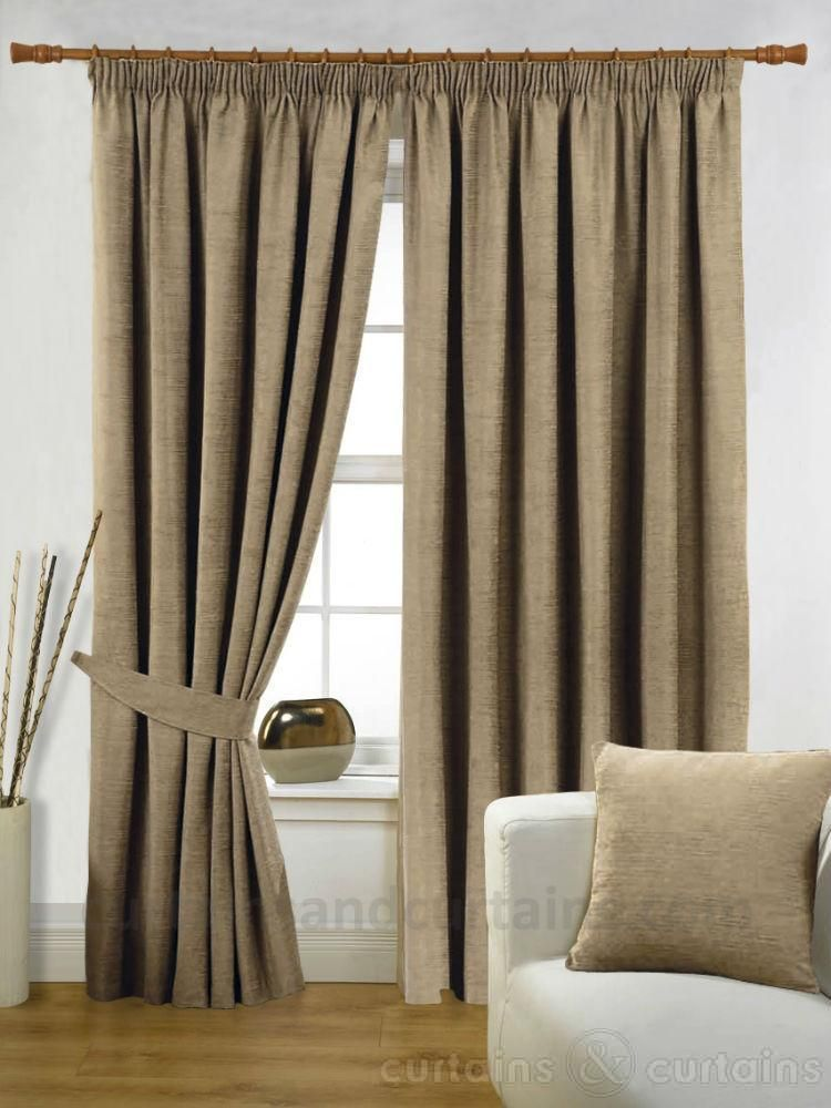 Chenille beige latte heavy luxury pencil pleat curtain - Beige and white bedroom curtains ...