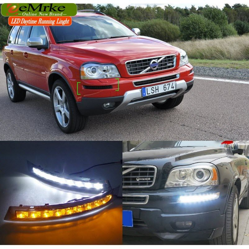 Eemrke High Power Led Drl For Volvo Xc90 White Drl Fog Cover Daytime Running Lights Kits Volvo Xc90 Car Lights Volvo