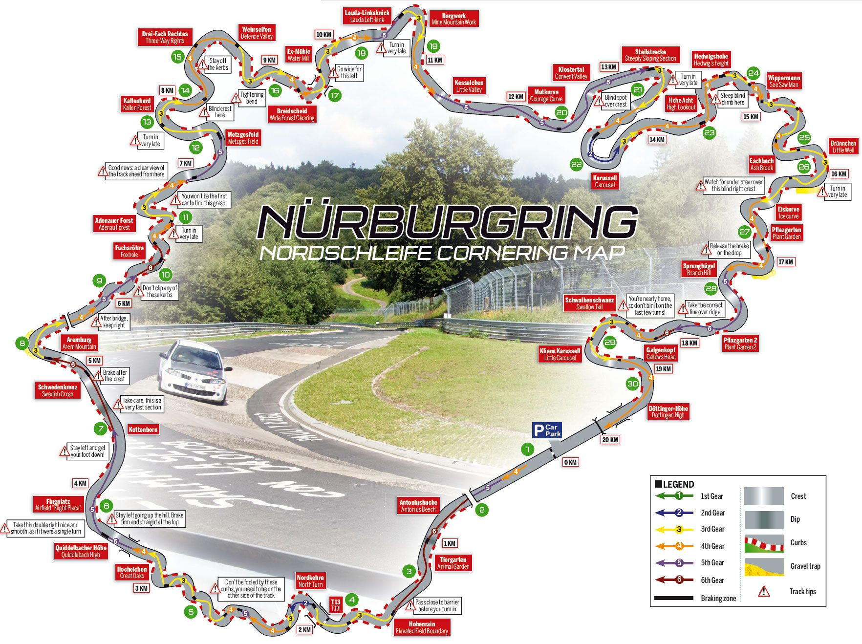 Nordschleife map with corner names and racing line. Look