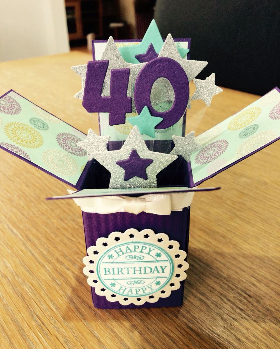 Pop Up Box Card Made For A 40th Birthday 40th Birthday Cards Handmade Invitation Cards Pop Up Box Cards