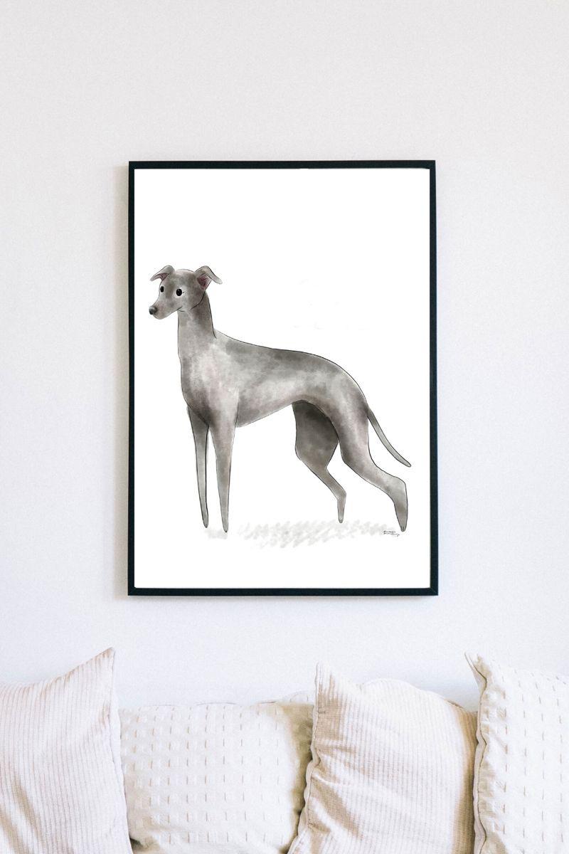 Italian Greyhound Printable Wall Art Greyhound Gift Etsy In 2020 Cat Wall Art Dog Wall Art Printable Wall Art