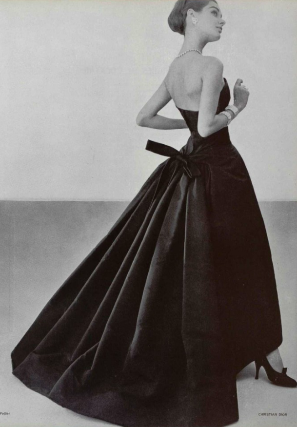 Christian Dior 1957 fashion style couture 50s 60s black cocktail ...