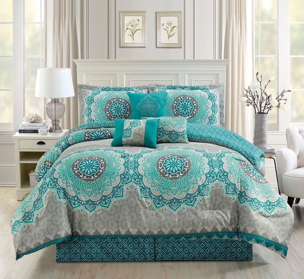 7 Piece Medallion Floral Teal Gray Comforter Set Bedroom