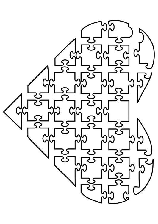 Coloring Page Jigsaw Heart Coloring Picture Jigsaw Heart