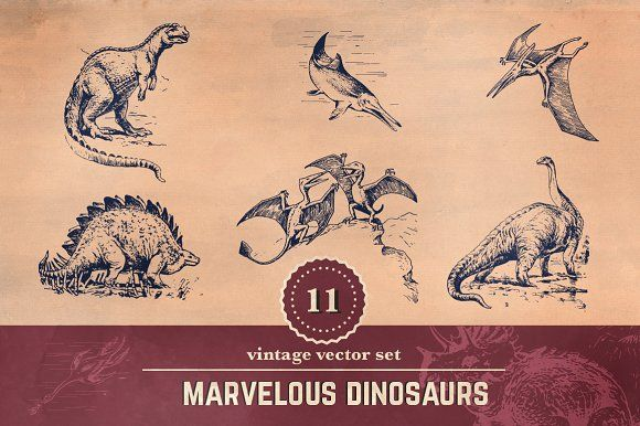11 Vintage Dinosaur Illustrations by Myanmair on @creativemarket #dinosaurillustration